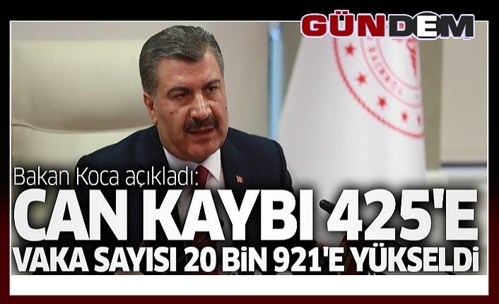 Türkiye'de koronavirüs: 425 ölüm, 20 bin 921 vaka...