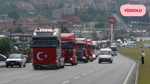 Tır şoförleri, terör olaylarını protesto etti