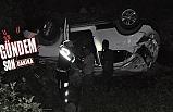Karaman'da araç şarampole yuvarlandi
