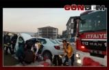 Kaldırıma çıkan otomobilin sürücüsü yaralandı