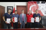 GENÇ KAYMAKAM'DAN İTFAİYECİLERE BAŞARI BELGESİ..