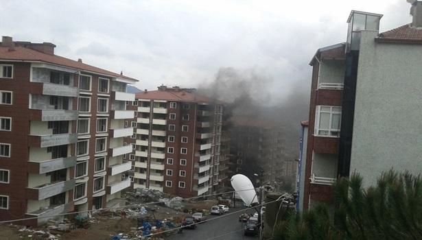Ereğli´de inşaat halindeki apartmanda yangın çıktı