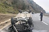 Kontrolden çıkan otomobil takla attı!...