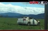 Otomobil tarlaya uçarak takla attı: 1 yaralı