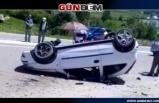 Araç takla attı, 2 yaralı
