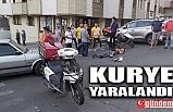 OTOMOBİL KURYEYE ÇARPTI, KURYE YARALANDI