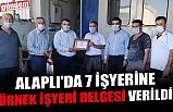 ALAPLI'DA 7 İŞYERİNE ÖRNEK İŞYERİ BELGESİ VERİLDİ