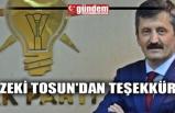 ZEKİ TOSUN'DAN TEŞEKKÜR