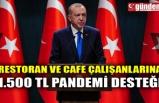 RESTORAN VE CAFE ÇALIŞANLARINA 1.500 TL PANDEMİ DESTEĞİ