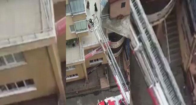 Yangın paniği kameralara yansıdı