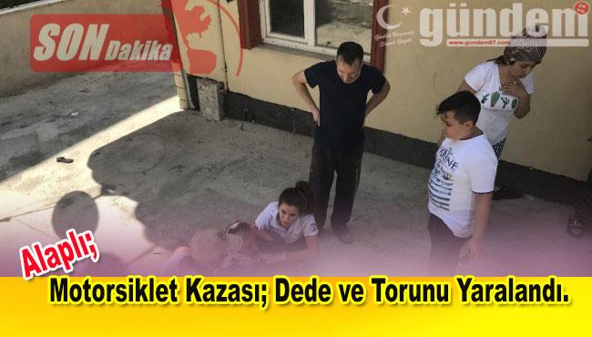 Motorsiklet Kazası; Dede ve Torunu Yaralandı.