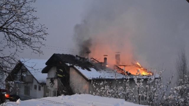 Safranbolu ilçesinde ev yangını