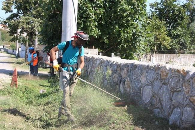Belediye Birimi Ekipleri uzayan otları tırpanla temizliyor