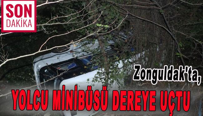 Zonguldak'ta Yolcu minibüsü dereye uçtu