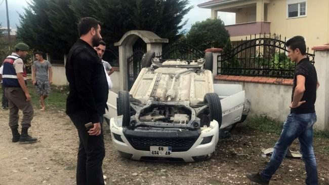 Beyköy beldesinde otomobil takla attı 4 Yaralı