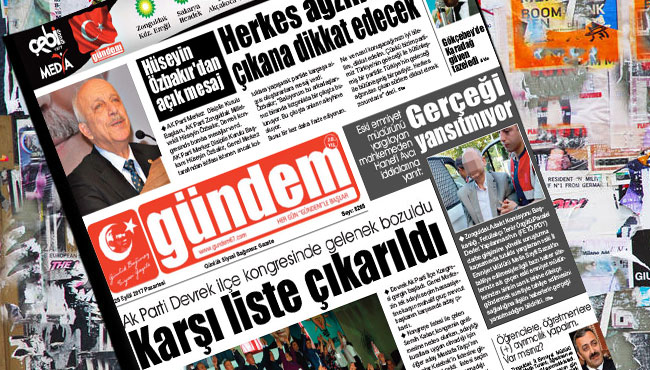 25 Eylül 2017 Gündem Gazetesi
