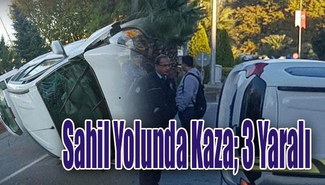 Sahil Yolunda Kaza; 3 Yaralı