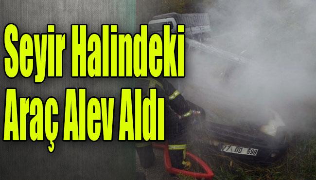 Akçakoca'da seyir halindeki araç alev aldı
