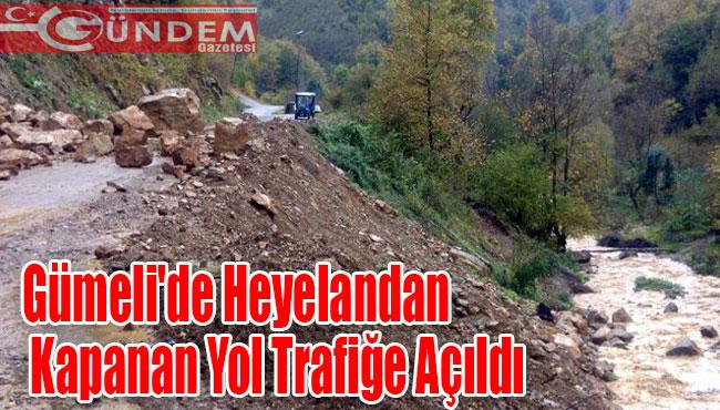 Gümeli'de Heyelandan kapanan yol trafiğe açıldı