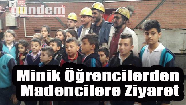 Minik öğrencilerden madencilere ziyaret