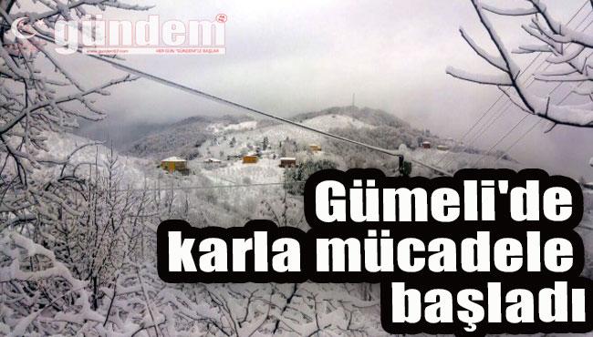 Gümeli'de karla mücadele başladı