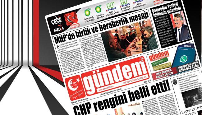 16 Aralık 2017 Gündem Gazetesi