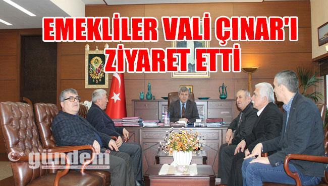 Emekliler Vali Çınar'ı Ziyaret Etti