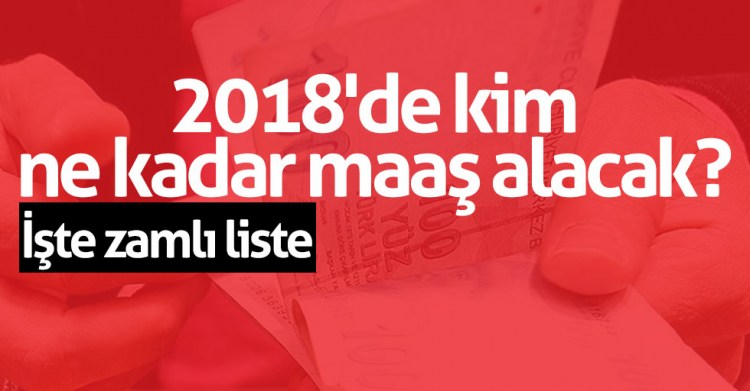 2018'de kim ne kadar maaş alacak? İşte zamlı liste