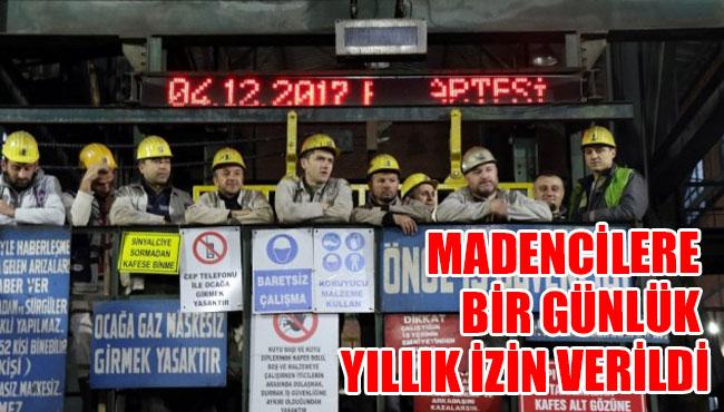 Madencilere bir günlük yıllık izin verildi