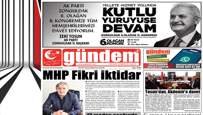 18 Ocak 2018 Gündem Gazetesi