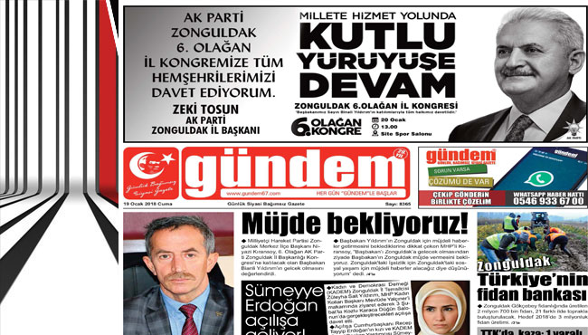 19 Ocak 2018 Gündem Gazetesi