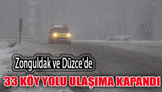 Zonguldak ve Düzce'de 33 köy yolu ulaşıma kapandı