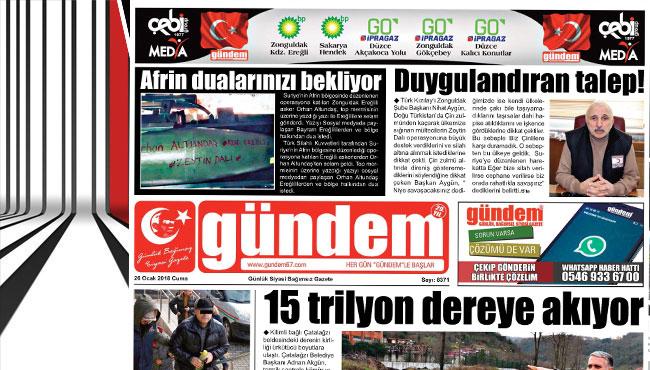 26 Ocak 2018 Gündem Gazetesi