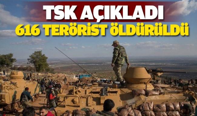 616 Terörist İmha Edildi