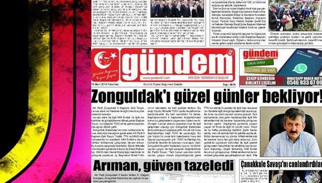 19 Mart 2018 Gündem Gazetesi