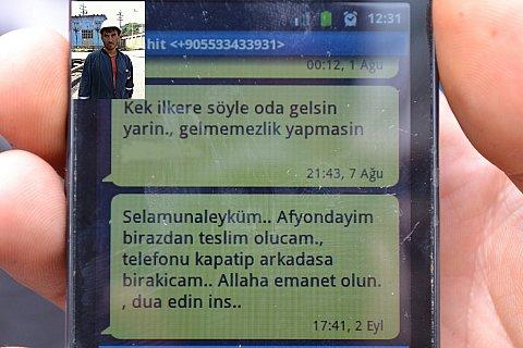İŞTE ŞEHİDİN SON TELEFON MESAJI