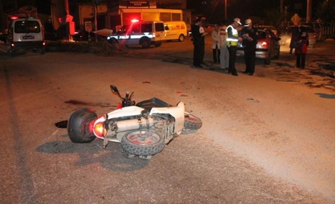 Ereğli´de, kaza yapan motosiklet sürücüsünün dili koptu