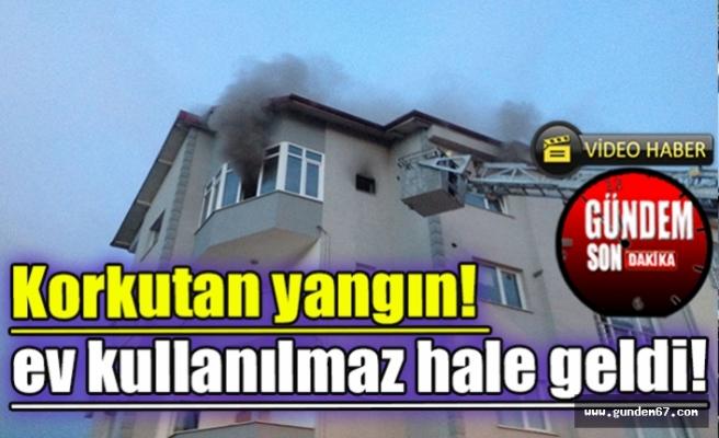 Korkutan yangın! ev kullanılmaz hale geldi!
