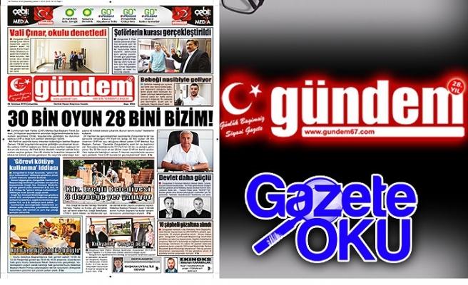 4 Temmuz 2018 Çarşamba Gündem Gazetesi