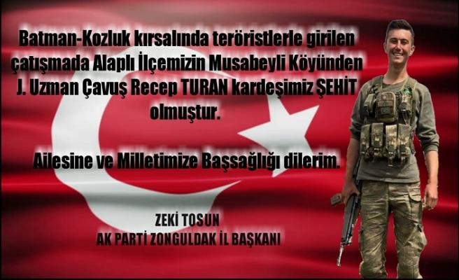 Tosun'dan taziye mesajı