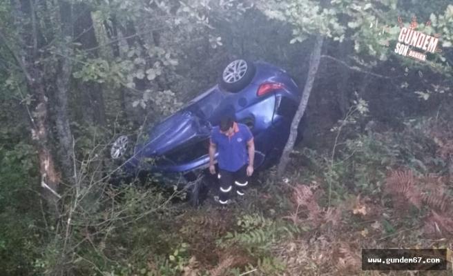 Otomobil ormana yuvarlandı!