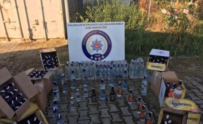 Polisten kaçak içki ve sigara operasyonu