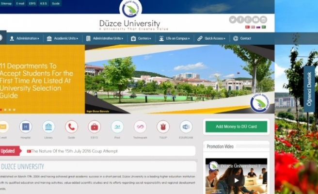 Düzce Üniversitesi internet sayfası 4 dilde hizmet sunuyor