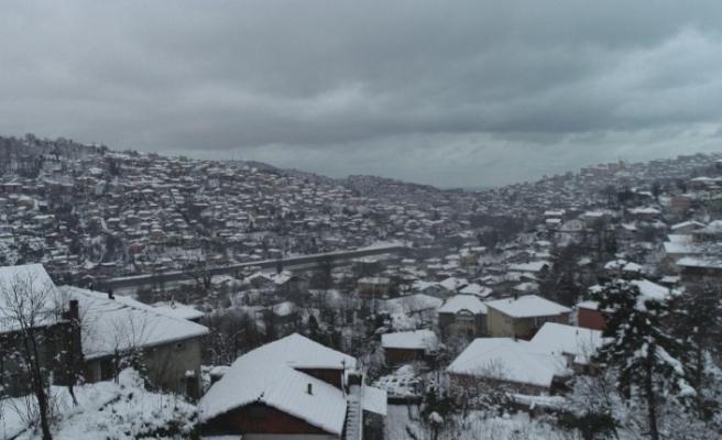 Beyaza bürünen Zonguldak havadan görüntülendi