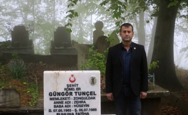 Şehidin mezarı 34 yıl sonra yenilendi