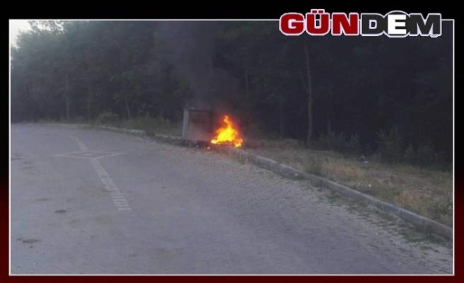 Çöp konteynerini ateşe verdiler
