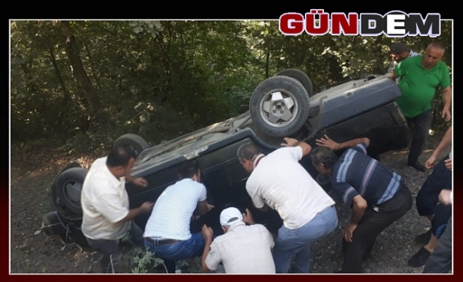 Otomobil devrildi: 3 yaralı