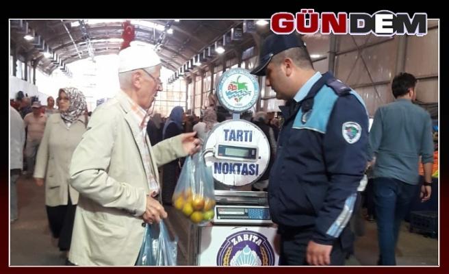 """PAZARYERİNDE """"TARTI KONTROL NOKTASI"""" KURULDU"""