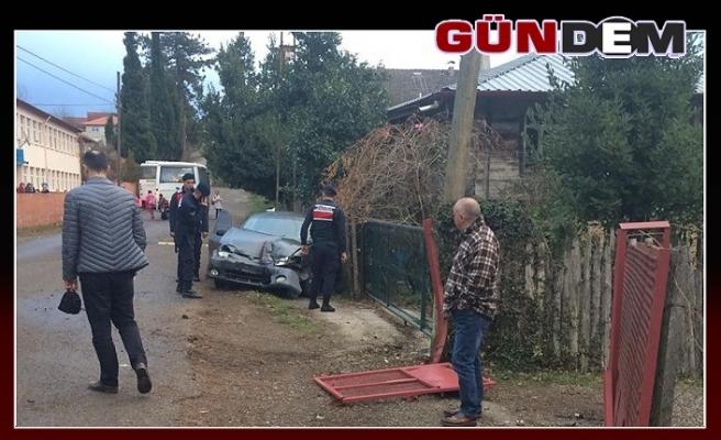Otomobil kaygan yolda kontrolden çıktı!..