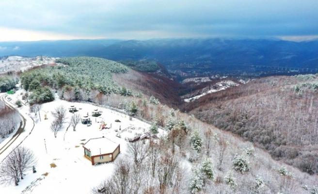 Bolu Dağı kar yağışı sonrası havadan görüntülendi